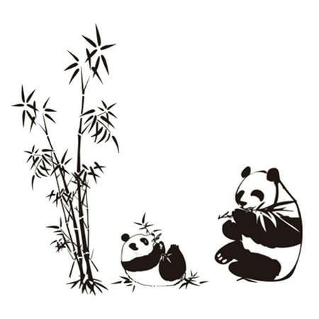 PVC Panda Bamboo Pattern Removable Wall Sticker Art Mural Decal