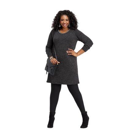 558d8490d7 Maurices - Plus Size Knit Trim Neck Sweater Dress - Walmart.com