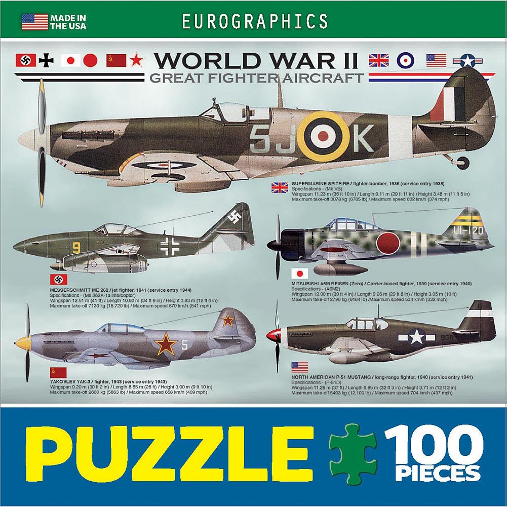 WWII Great Fighters Mini 100 Piece Puzzle
