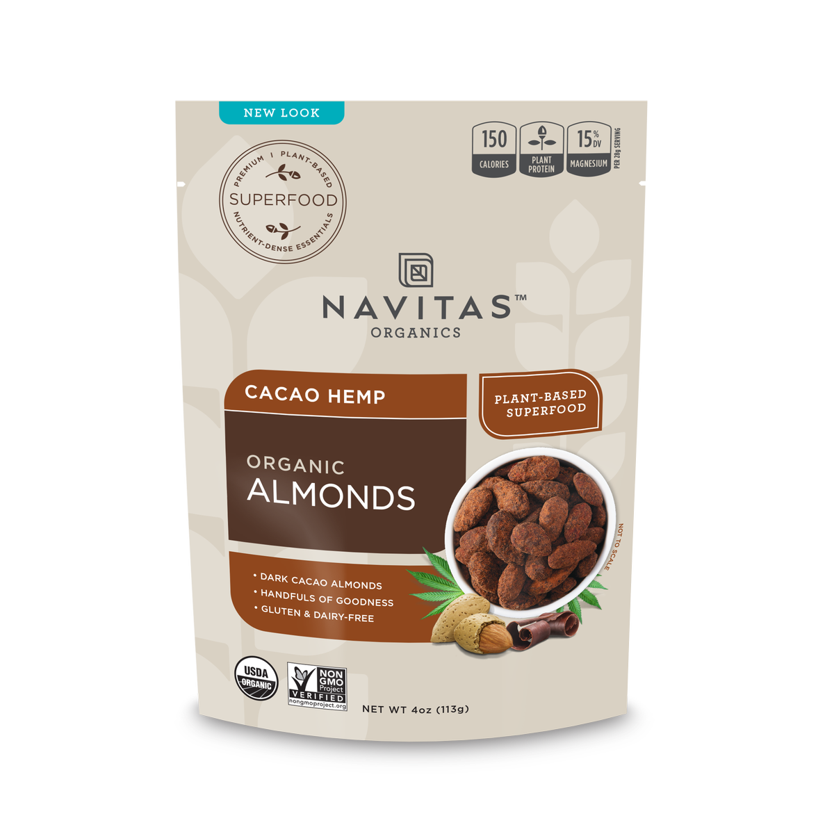 Navitas Organics Cacao Hemp Almonds, 4.0 Oz