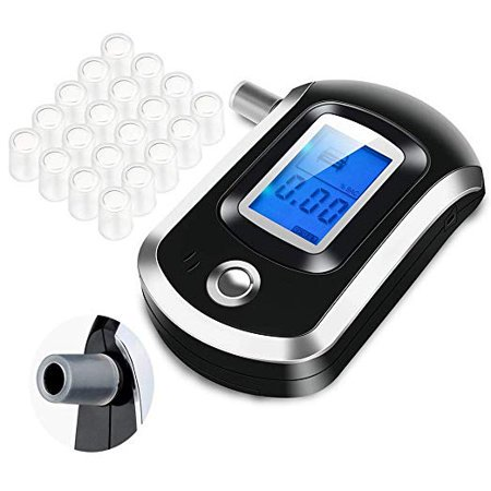 Breath Blood Alcohol Tester, Portable Breathalyzer w/ Free 20 Mouthpieces, LCD Digital Alcohol BAC Tester Detector Battery Power Highly-Accurate Alcohol Sensors Screener Personal & Professional Use