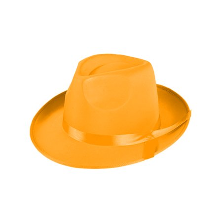 Adults 1920s Gangster Orange Fabric Fedora Hat Costume Accessory](1920s Gangster Suits)