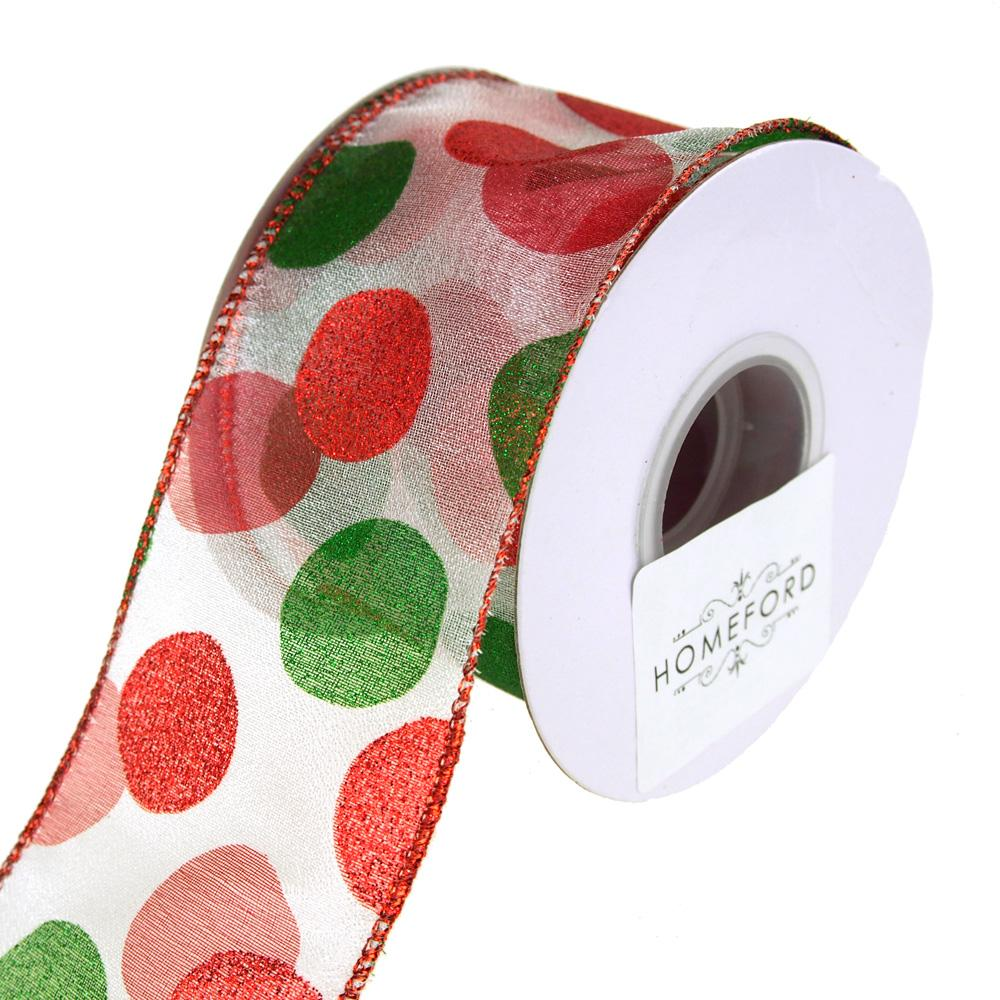 Glitter Dot Sheer Wired Holiday Christmas Ribbon, Red/Green, 2-1/2-Inch, 10 Yards
