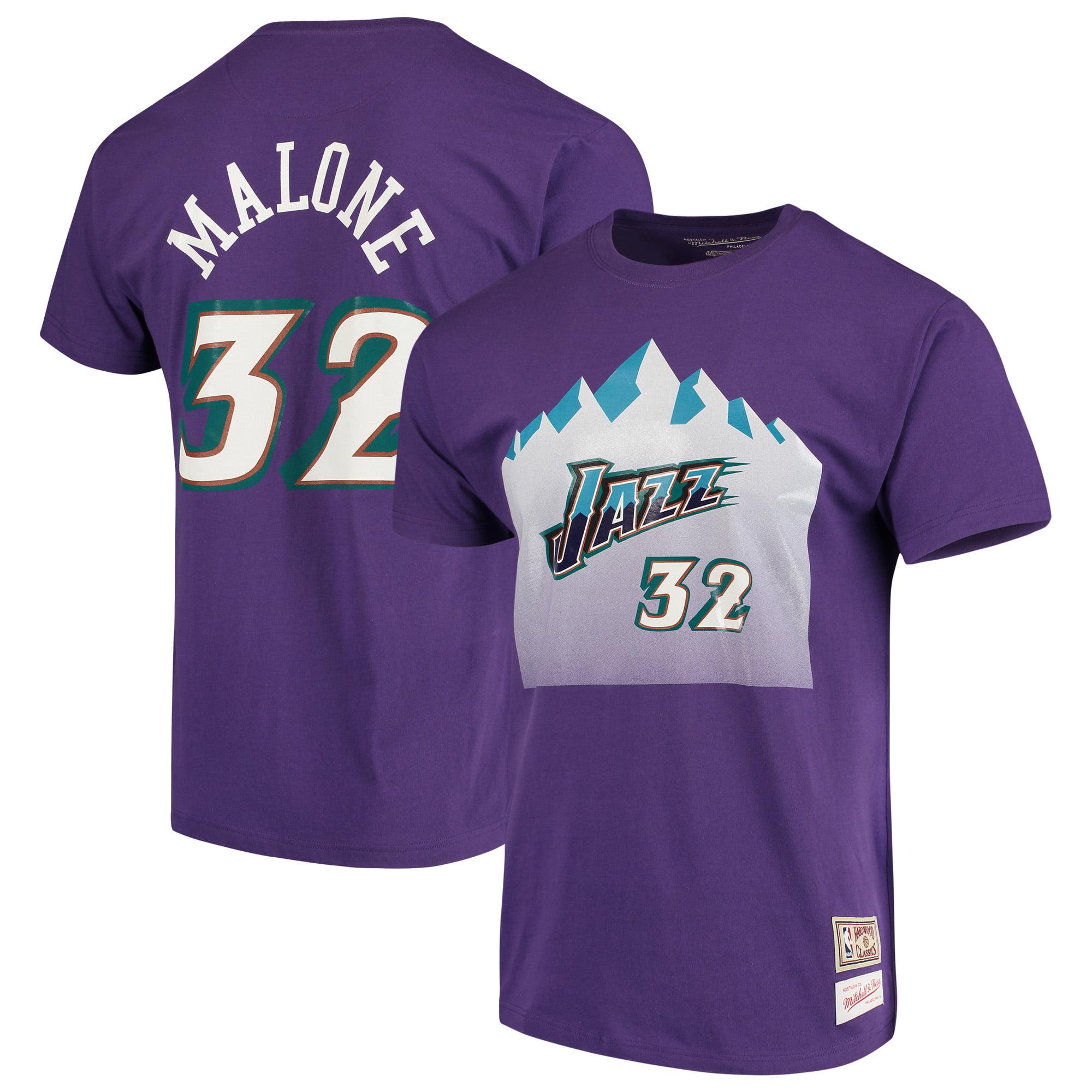 Karl Malone Utah Jazz Mitchell & Ness Hardwood Classics Team Name & Number T-Shirt - Purple