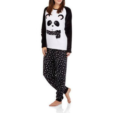 Secret Treasures Women's Plush Fleece Pajama 2 Piece Sleepwear Set with Applique (Sizes XS-3X)