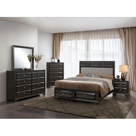 Modern Decorative Raised Drawers Antique Gray Finish Padded Fabric California King Size Bed Elegant Details Dresser Mirror Nightstand 4pc Set