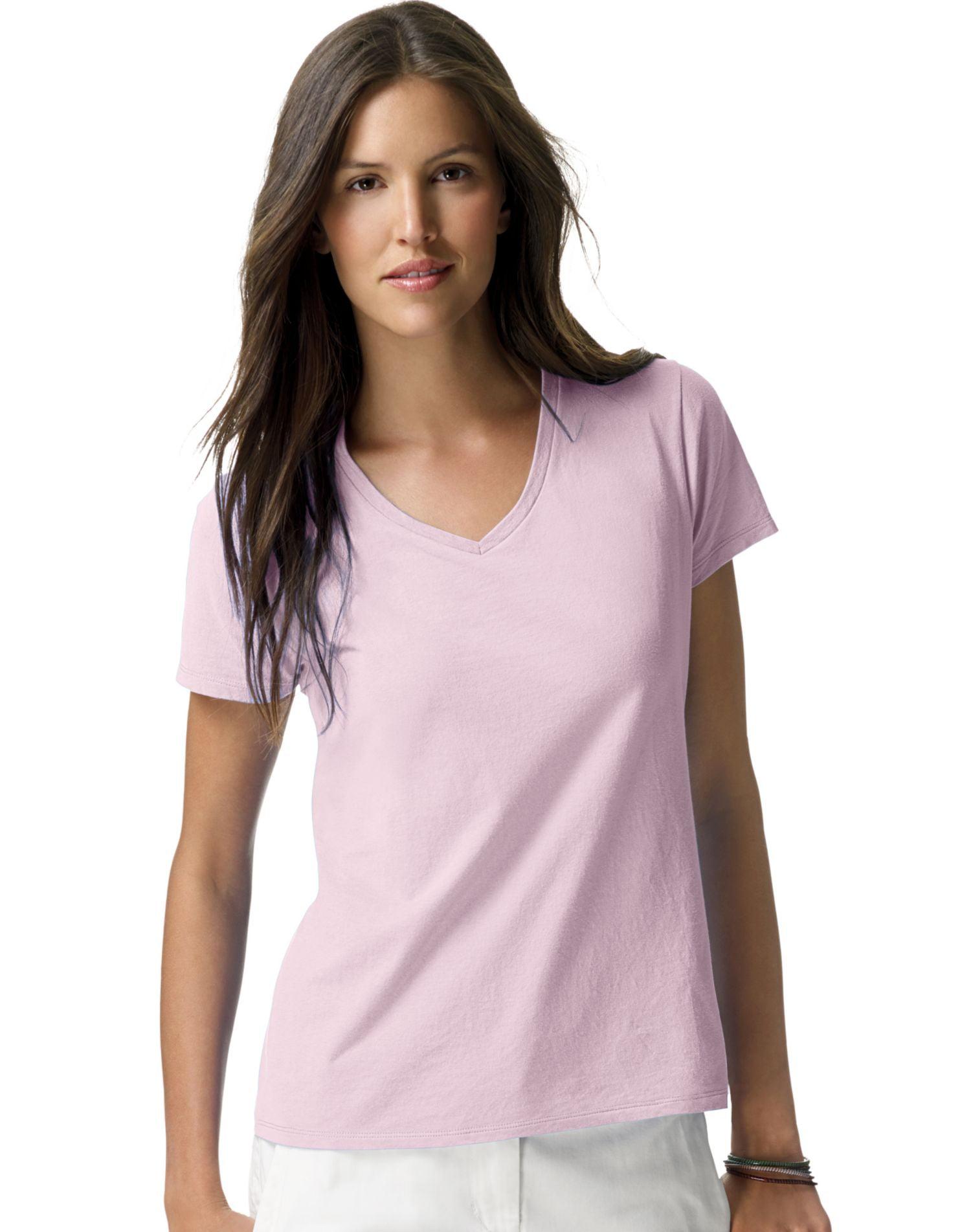 4-Pack XXL 5780 Hanes ComfortSoft V-Neck T-Shirt Ash 2XL