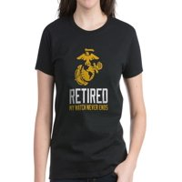 CafePress - USMC Retired Watch Never Ends Women's Dark T Shirt - Women's Dark T-Shirt