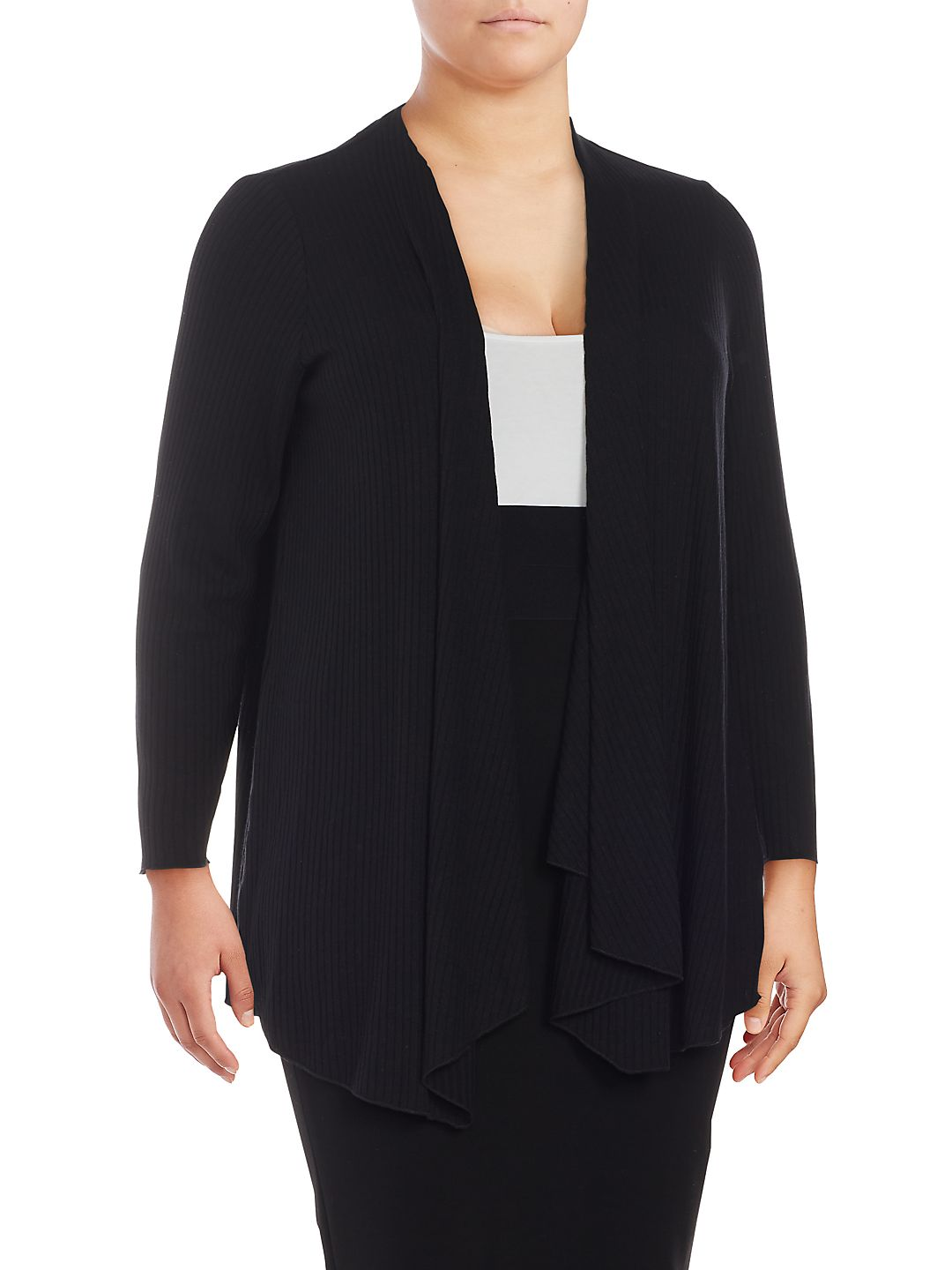 Plus Ribbed Open Front Cardigan