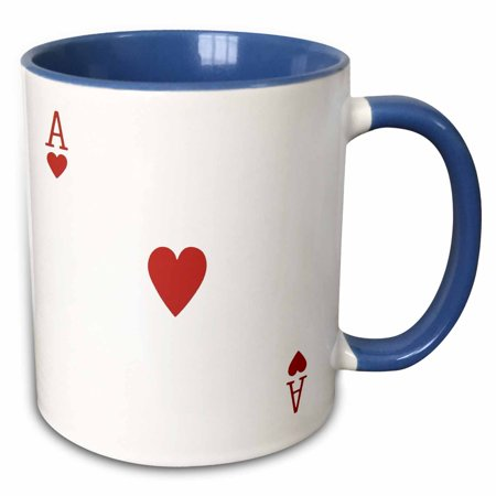 3dRose Ace of Hearts playing card - Red Heart suit - Gifts for cards game players of poker bridge games - Two Tone Blue Mug, 11-ounce