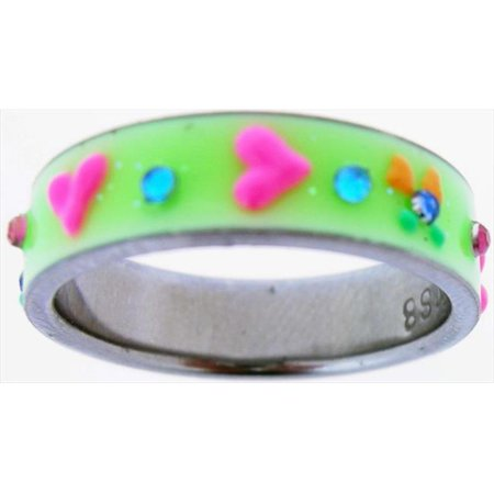 Ring Green Uv Glow Heart Style 517 Size 7 - image 1 de 1