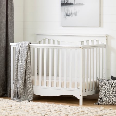 South Shore Savannah Baby Crib 4 Heights with Toddler Rail, Multiple Finishes (White 4 In 1 Baby Crib)