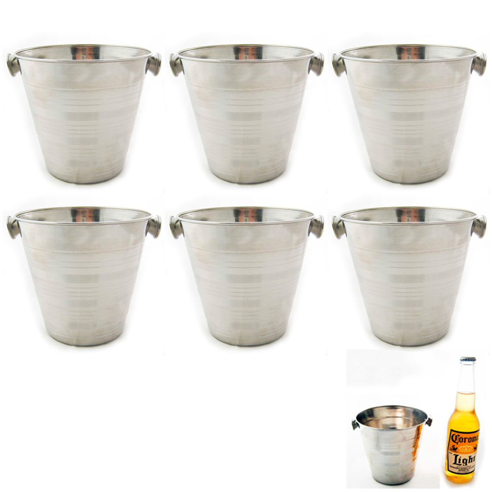 6 Stainless Steel Ice Bucket Champagne Wine Pail 32 OZ Bar Restaurant Farm Milk by Regent Products
