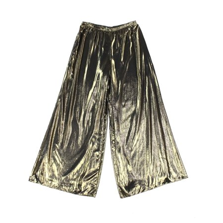 MSK NEW Gold Womens Size Medium M Metallic Wide Leg Pull-On Dress Pants