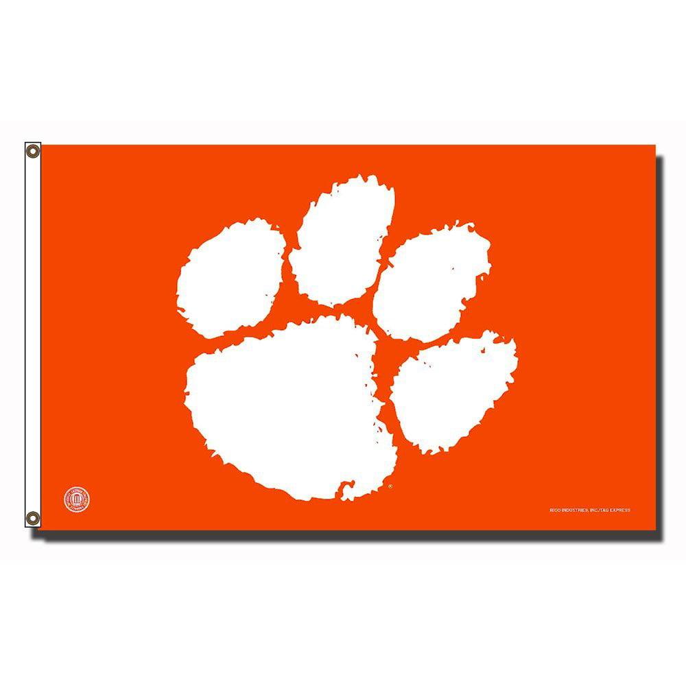 Clemson Tigers NCAA 3ft x 5ft Banner Flag (Orange W/White Paw)