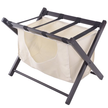 Costway wood folding luggage rack suitcase stand hamper laundry cloth bag for Folding luggage racks bedroom