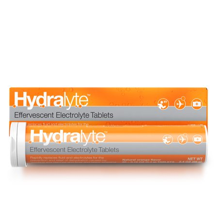 Hydralyte Effervescent Electrolyte Tablets, 20 count, dissolve in water for clinical hydration, low