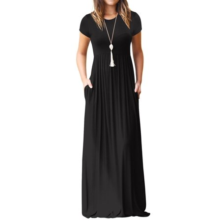 ZXZY Women Short Sleeve Tank Top Long Dress Beach Maxi Dresses