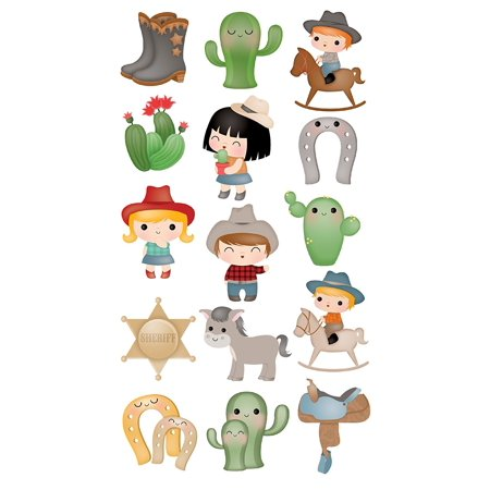 Decorative Sticko Stickers, Cowboy Cuties, Perfect for scrapbooks, cards, notebook covers - almost anything By EK Success