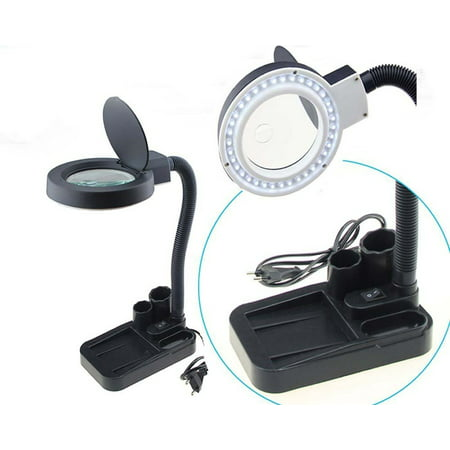 Magnifier With Light - Magnifying Crafts Glass Desk Lamp 5X 10X Magnifier With 40 LED Lights Practical Description: