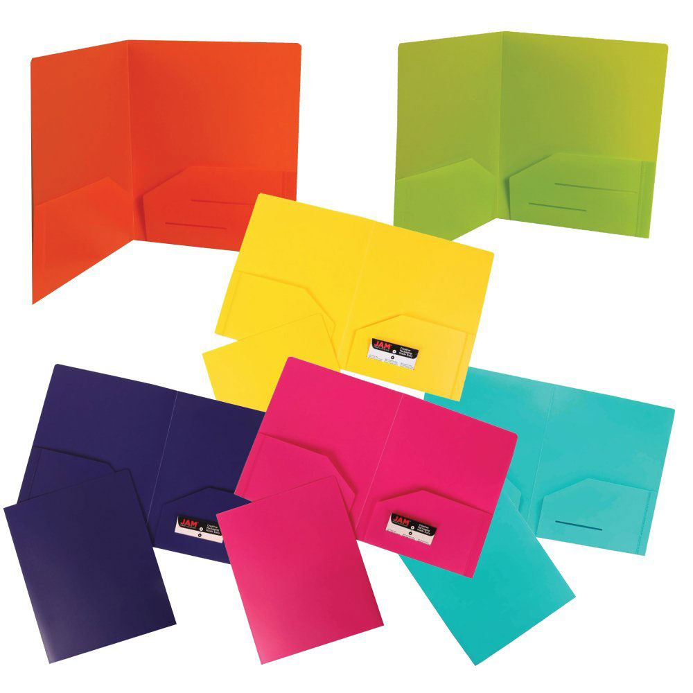 JAM Paper Plastic Heavy Duty 2 Pocket School Presentation Folders, Assorted Fashion Colors, 6/pack