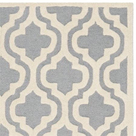 """Safavieh Cambridge 2'6"""" X 4' Hand Tufted Wool Rug in Silver and Ivory - image 2 of 3"""
