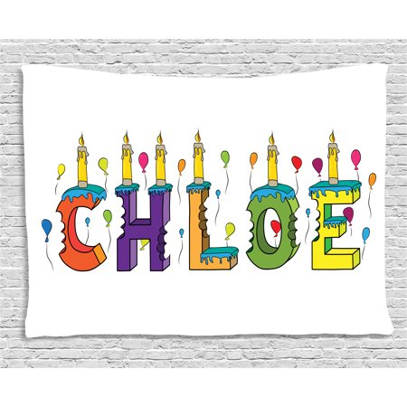 Chloe Tapestry, Lettering with Cheerful Bitten Cake Candles Girly Birthday Party Design First Name, Wall Hanging for Bedroom Living Room Dorm Decor, 60W X 40L Inches, Multicolor, by Ambesonne