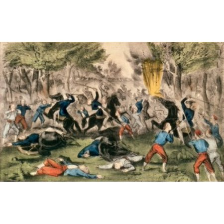 Battle of Bull Run Virginia July 21st  1861  Currier & Ives (Active 1857-1907 American) Color Lithograph  Library of Congress Washington DC Stretched Canvas - Currier & Ives (24 x 36)