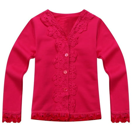 Richie House Little Girls Pink Lace Detail Sweet Cardigan 2-5
