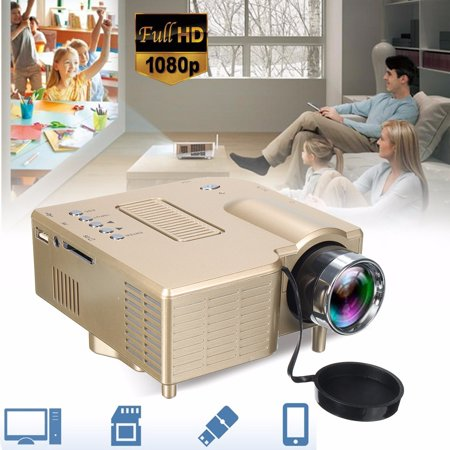 GM40 400lm LCD Mini Projector, Multimedia Home Theater Video Projector Support 1080P USB S D VGA AV Home Cinema TV Laptop Game iPhon e Androi d (Wega Multi System Tv)