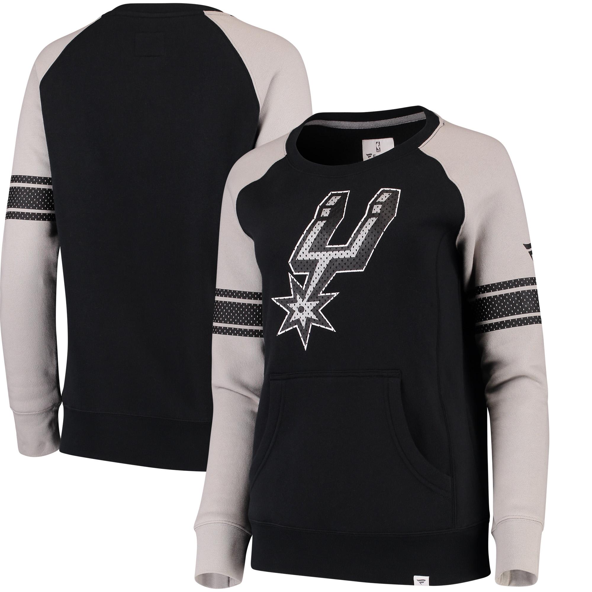 San Antonio Spurs Fanatics Branded Women's Iconic Pullover Sweatshirt - Black/Heathered Gray