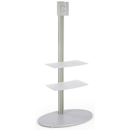 Aluminum Flat Panel TV Stand With 2 Large Acrylic Shelves Holds 32 - 42-Inch Monitors, 200 x 200 VESA Compatible Bracket, Large Round Stabilizing Base, 37-7/16 x73 x 24-Inch (45 Large Flat Panel)