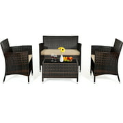 Topbuy 4-Piece Patio Rattan Wicker Furniture Set Sofa Chair Table Set w/ Mix Brown Cushions