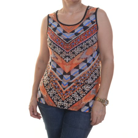 Eci Women's Sleeveless Printed Top Size S Black/Orange