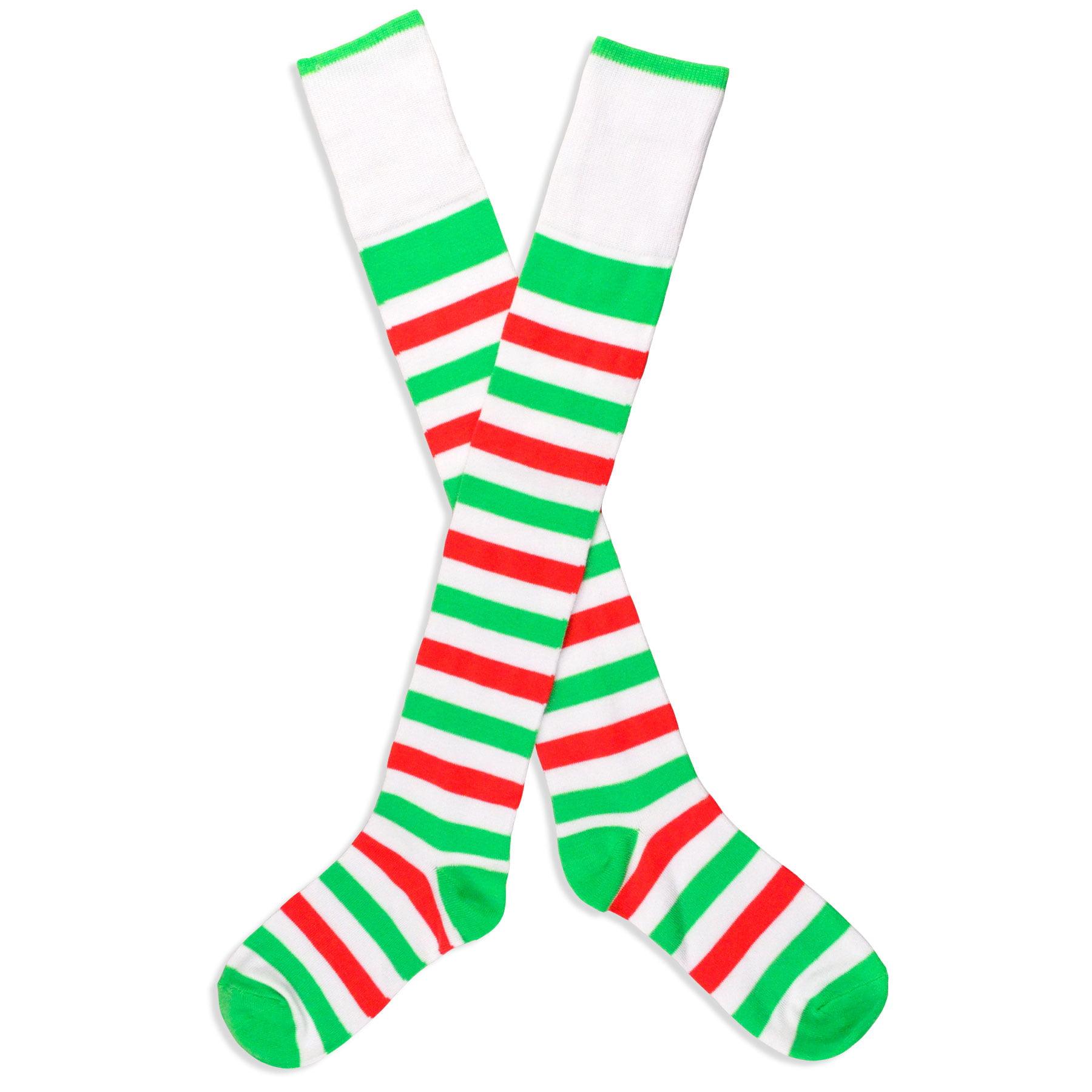 TeeHee Christmas Holiday Socks - Black and White Stripe Over the Knee High  - Walmart.com