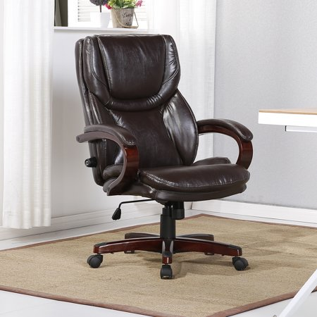 Peachy Belleze Executive Office Chair Adjustable Lumbar Support Height Swivel Wood Armrest Base Brown Interior Design Ideas Inesswwsoteloinfo