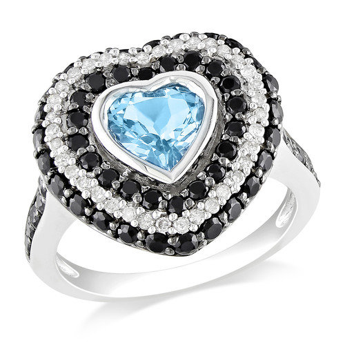 Amour Sterling Silver Heart Cut Topaz Halo Ring