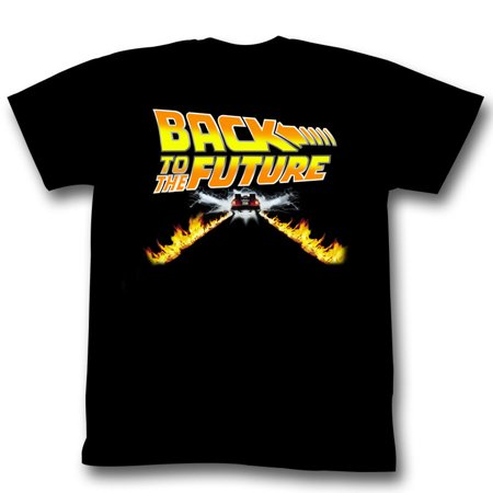 Back To The Future Movie BTF Car Flames Movie Poster Adult T-Shirt - Back To The Future Merchandise