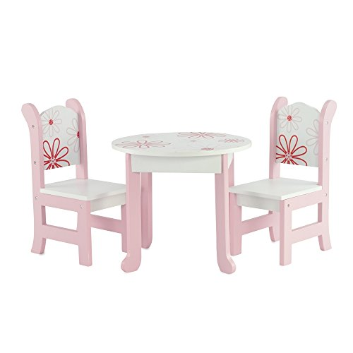 """18 Inch Doll Furniture Fits 18"""" American Girl Dolls Floral Table and Chairs by Emily Rose Doll Clothes"""