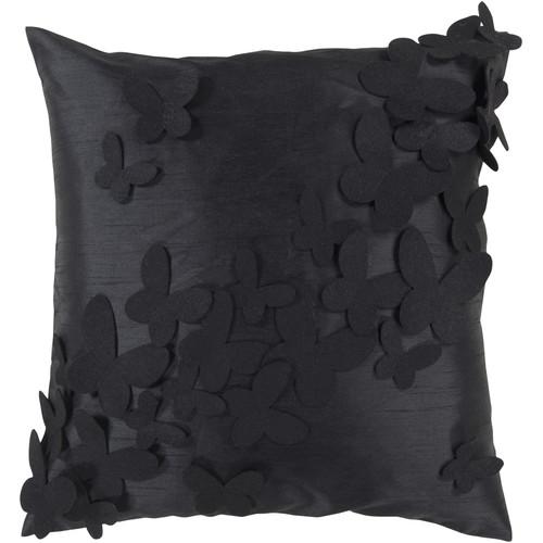 Surya Dancin Flowers Decorative Pillow - Caviar