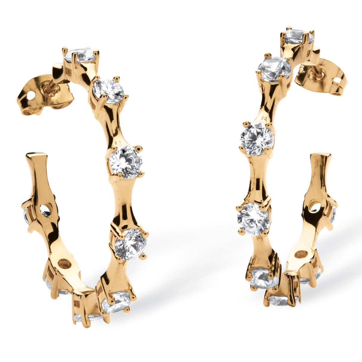 4 TCW Round Cubic Zirconia Bamboo Hoop Earrings in 14k Gold-Plated Finish