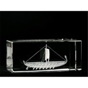 Asfour Crystal 1159-120-36 4.75 L x 2 H x 2 W in. Crystal Laser-Engraved Pharaonic Ship Ancient Egypt Laser-Cut