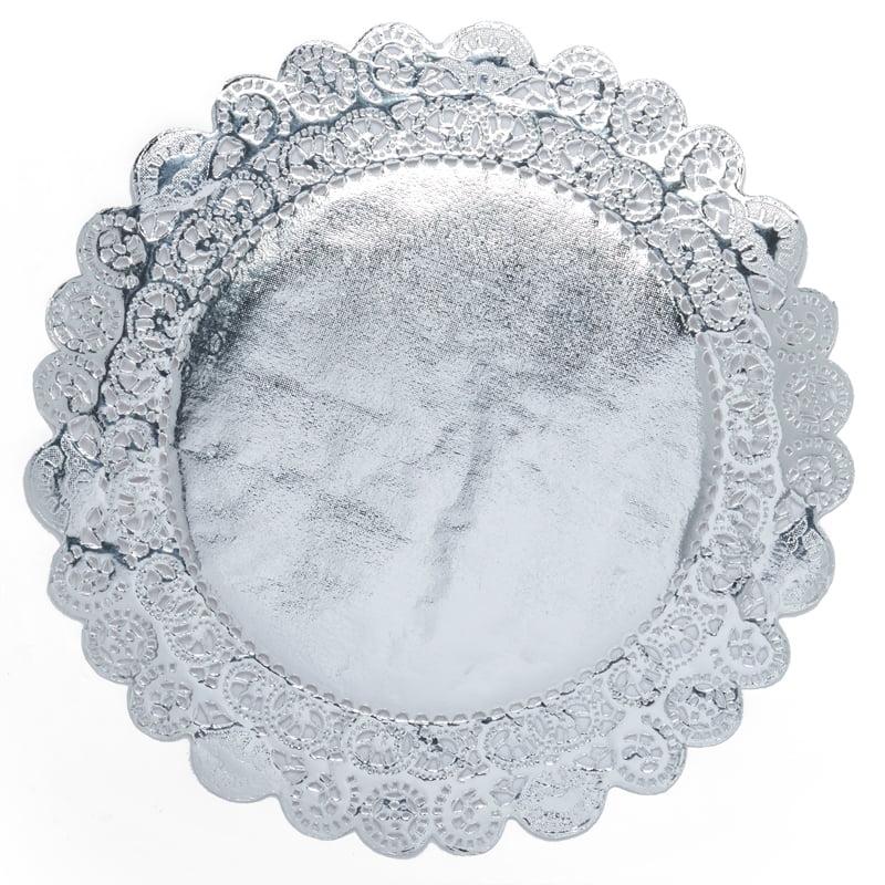 """250ea - 10"""" Silver Foil Paper Doilies by Paper Mart"""