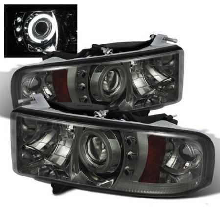 Sonar Ccfl Halo Projector Headlights Smoke 99 02 Dodge Ram 2500 3500 Pickup Sport Model