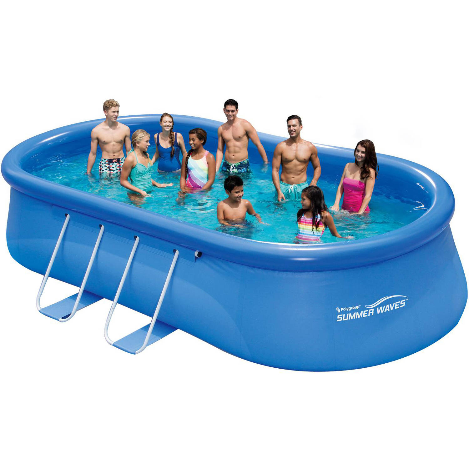 """Summer Waves 18' x 10' x 42"""" Quick Set Oval Frame Above Ground Swimming Pool with Deluxe Accessory Set"""