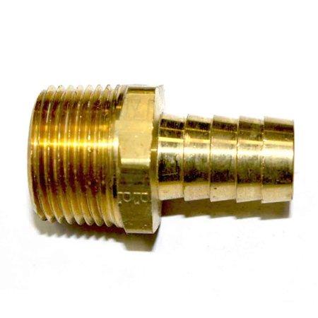 Barbed End - Interstate Pneumatics FM98 Brass Hose Barb Fitting, Connector, 1/2