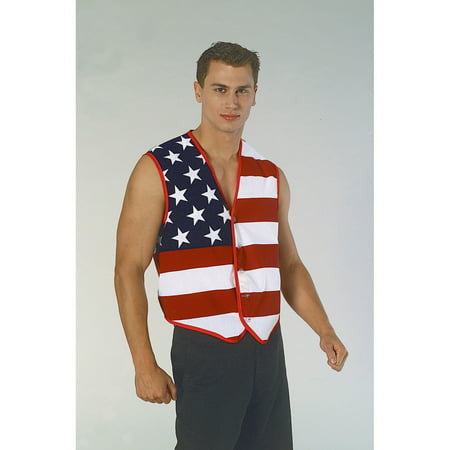 Mens Stars And Stripes American Flag Vest Halloween Costume Accessory - Mens Halloween Swat Vest