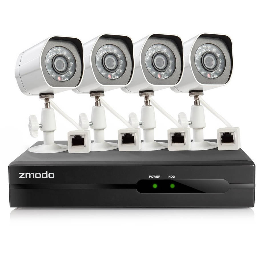 Zmodo 4-Channel, 4-Camera Indoor/Outdoor High-Definition NVR Security System White ZM-SS814-2TB