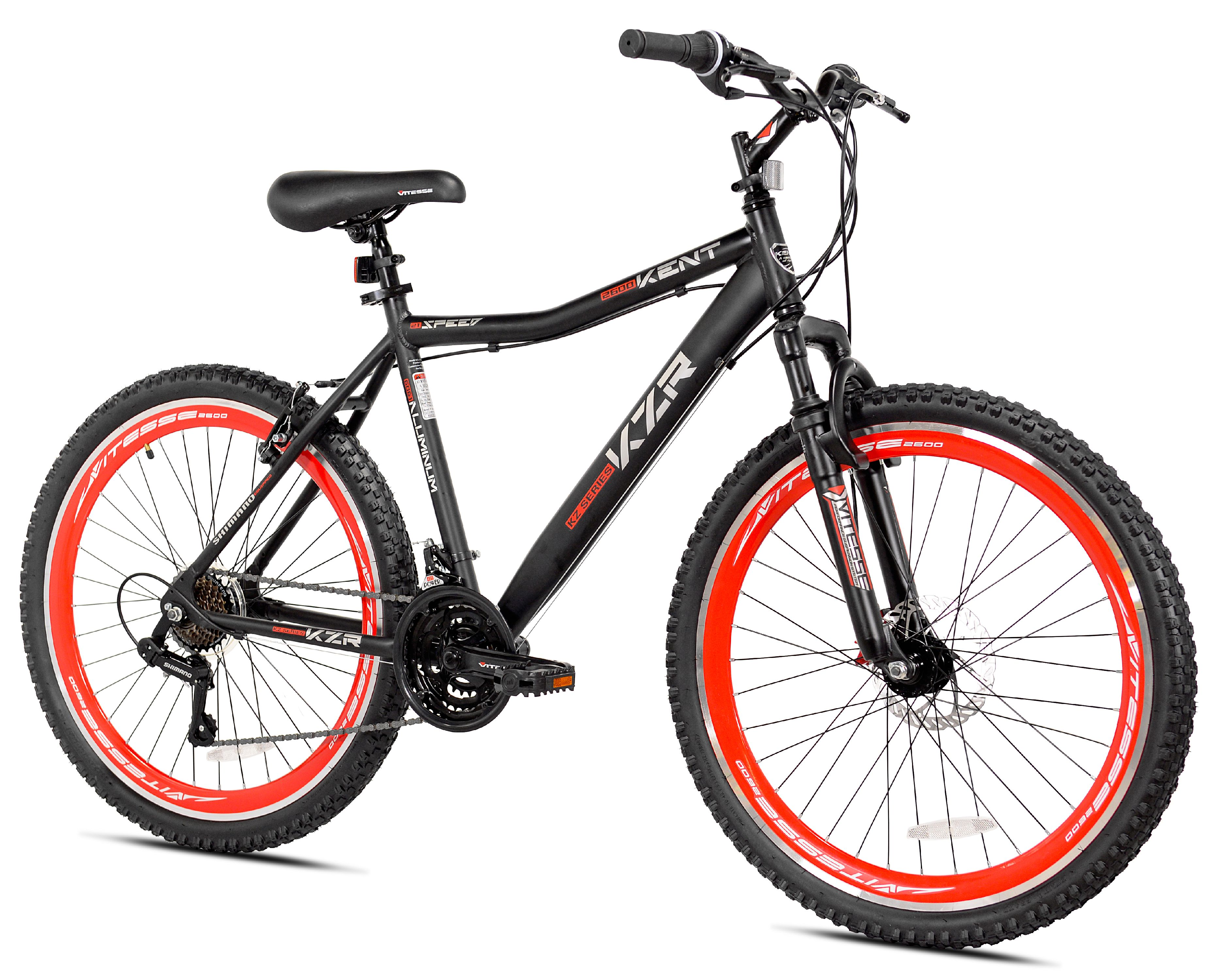 "Kent 26"" KZR Mountain Men's Bike, Black/Red, For Height Sizes 5'2"" and Up"