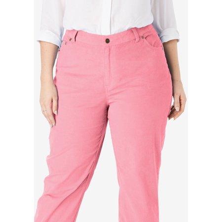 9347b4b6b72 Woman Within - Woman Within Plus Size Petite Corduroy Straight Leg Stretch  Pant - Walmart.com